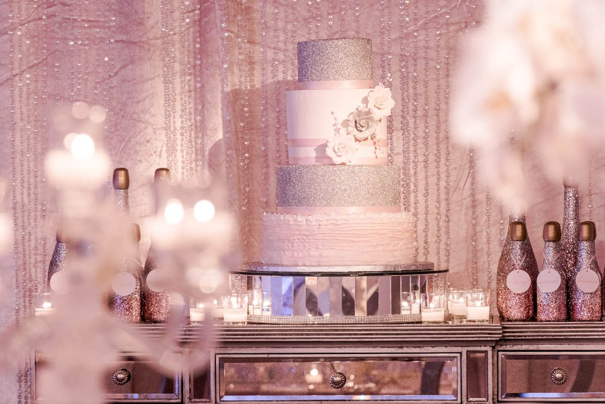 Silver White and Pink Cake