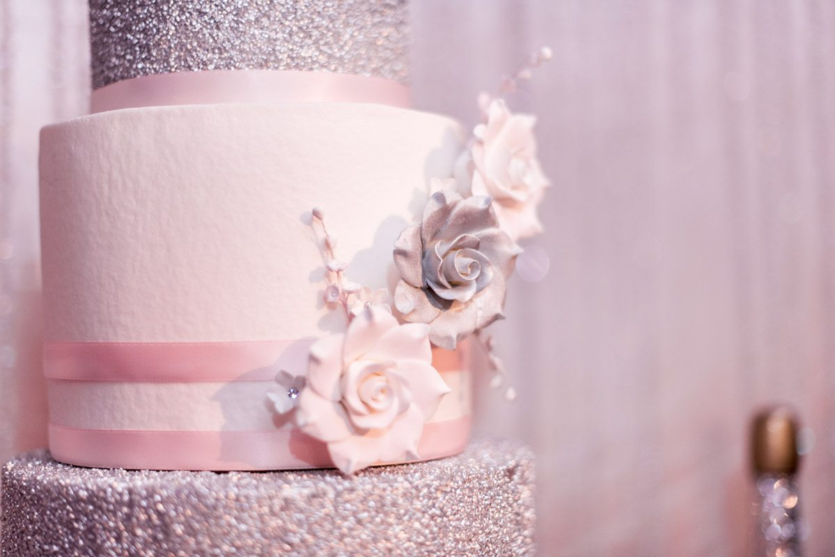 Silver and White Flower Cake Decor