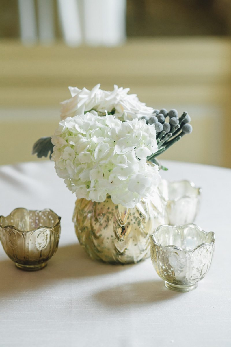 White Floral and Gold Vase Centerpiece