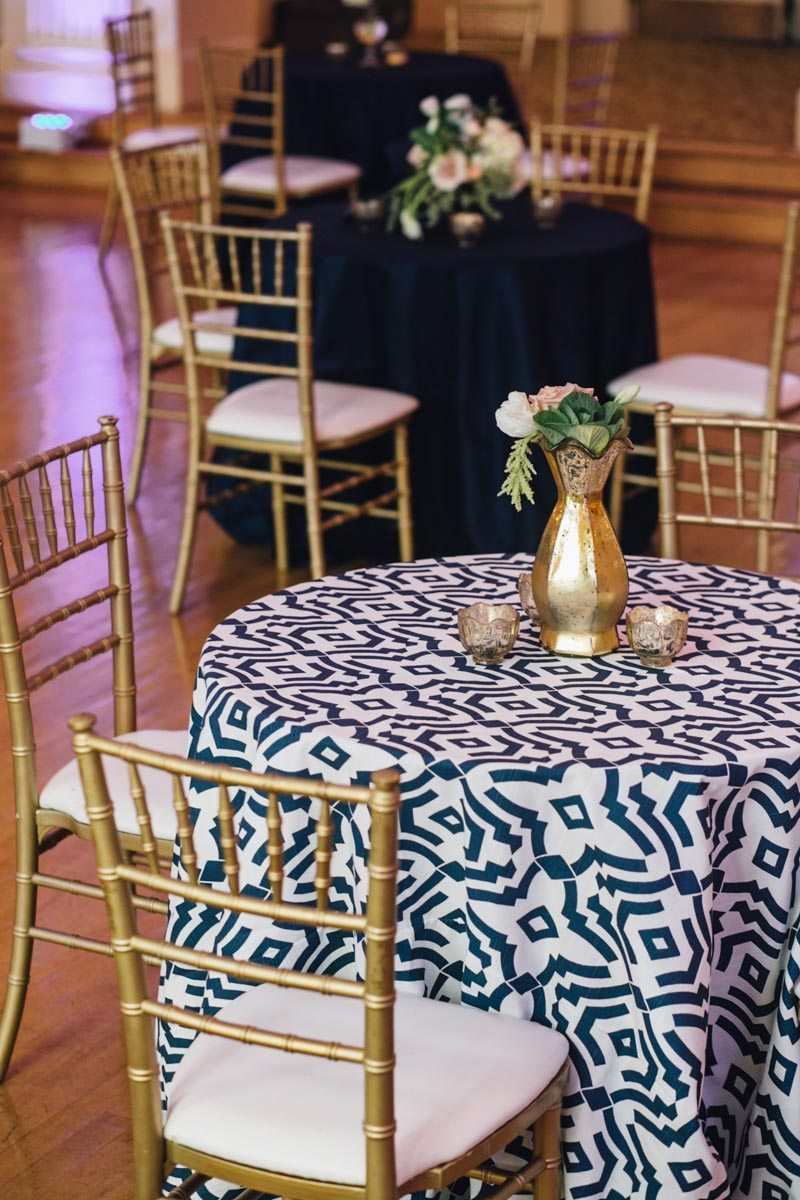 White Navy and Gold Table Decor