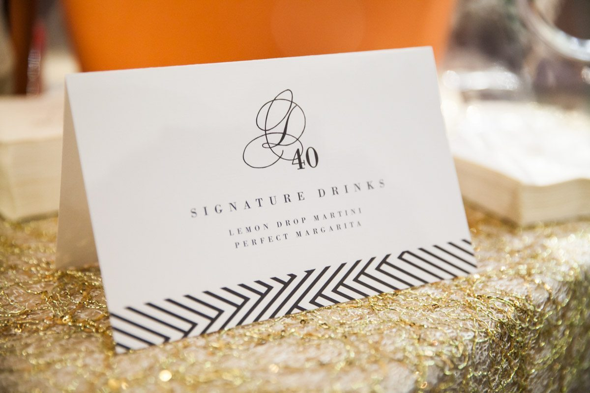 White and Black Signature Drink Placecard