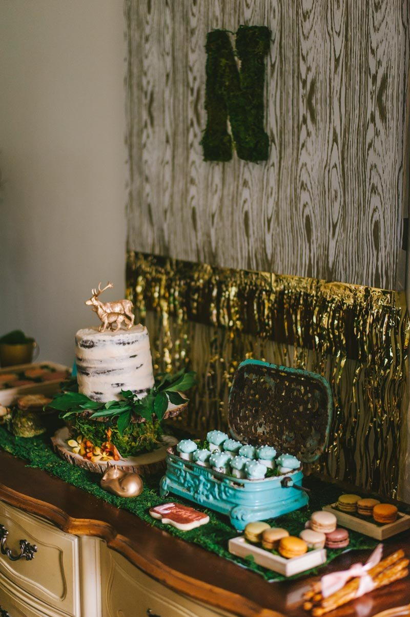 Wise Owl Woodland Dessert Table Decor With Gold Decor Cupcakes Cake and Macaroons