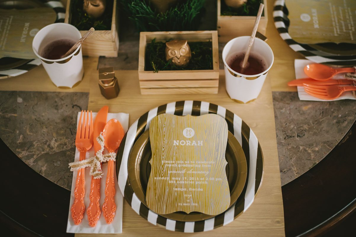 Wise Owl Woodland Styled Orange Brown and White Placesetting