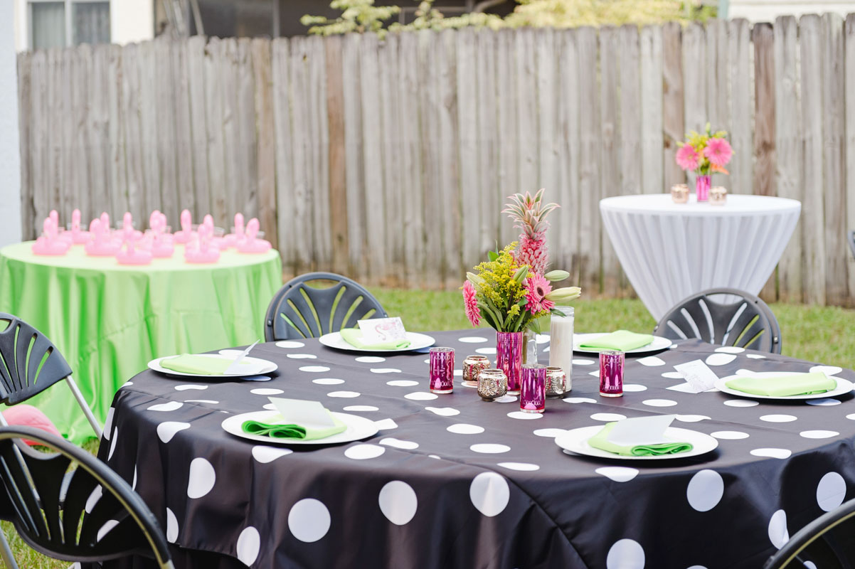 black and white polka dot table settings