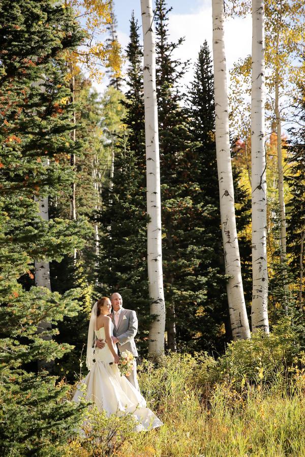bride and groom at ski resort