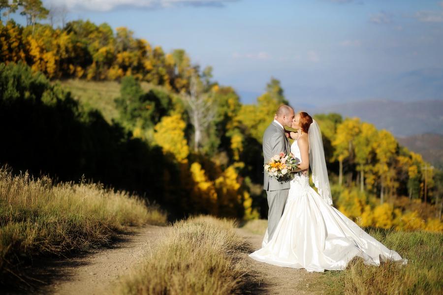 bride and groom at utah ski resort