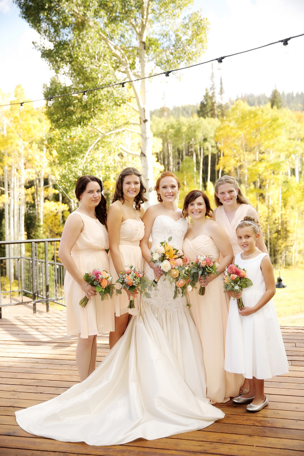 bride with her wedding party