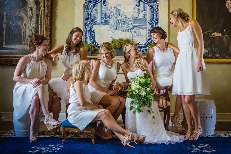 bridesmaids in white dresses