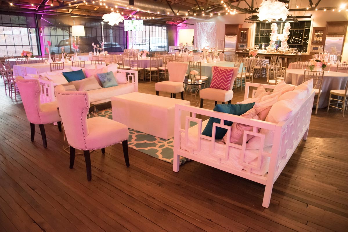 cozy seating area inside party venue