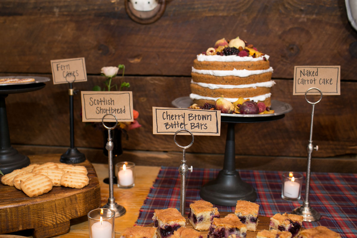dessert table with hand written labels