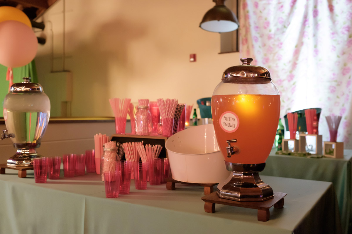 drink station with pink decorations