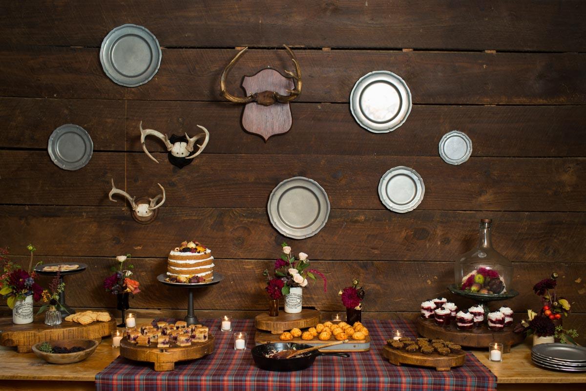 farm themed anniversary party dessert table