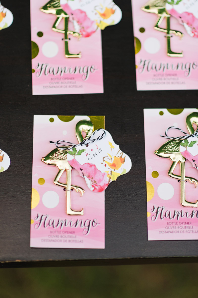 flamingo bottle opener party favor