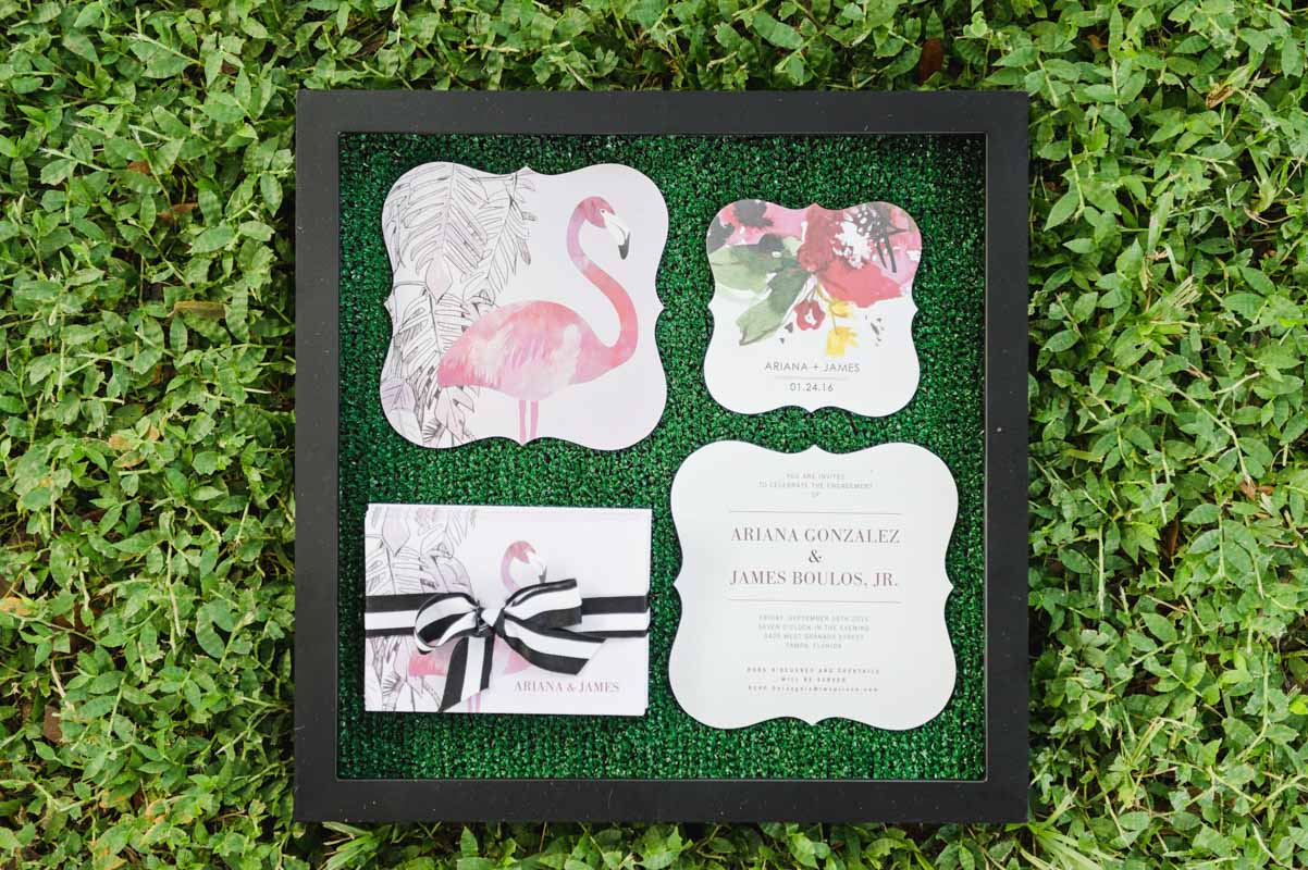 flamingo themed invitation suite