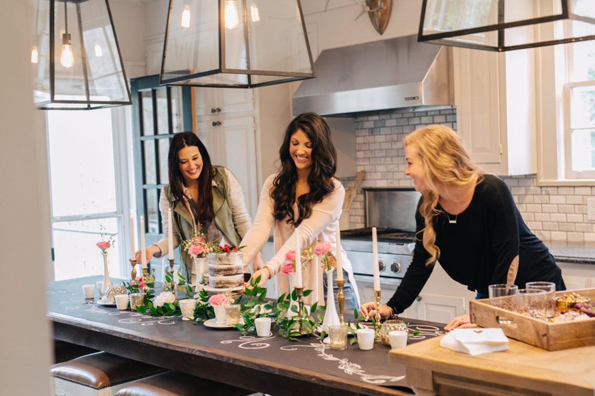 girls making dinner