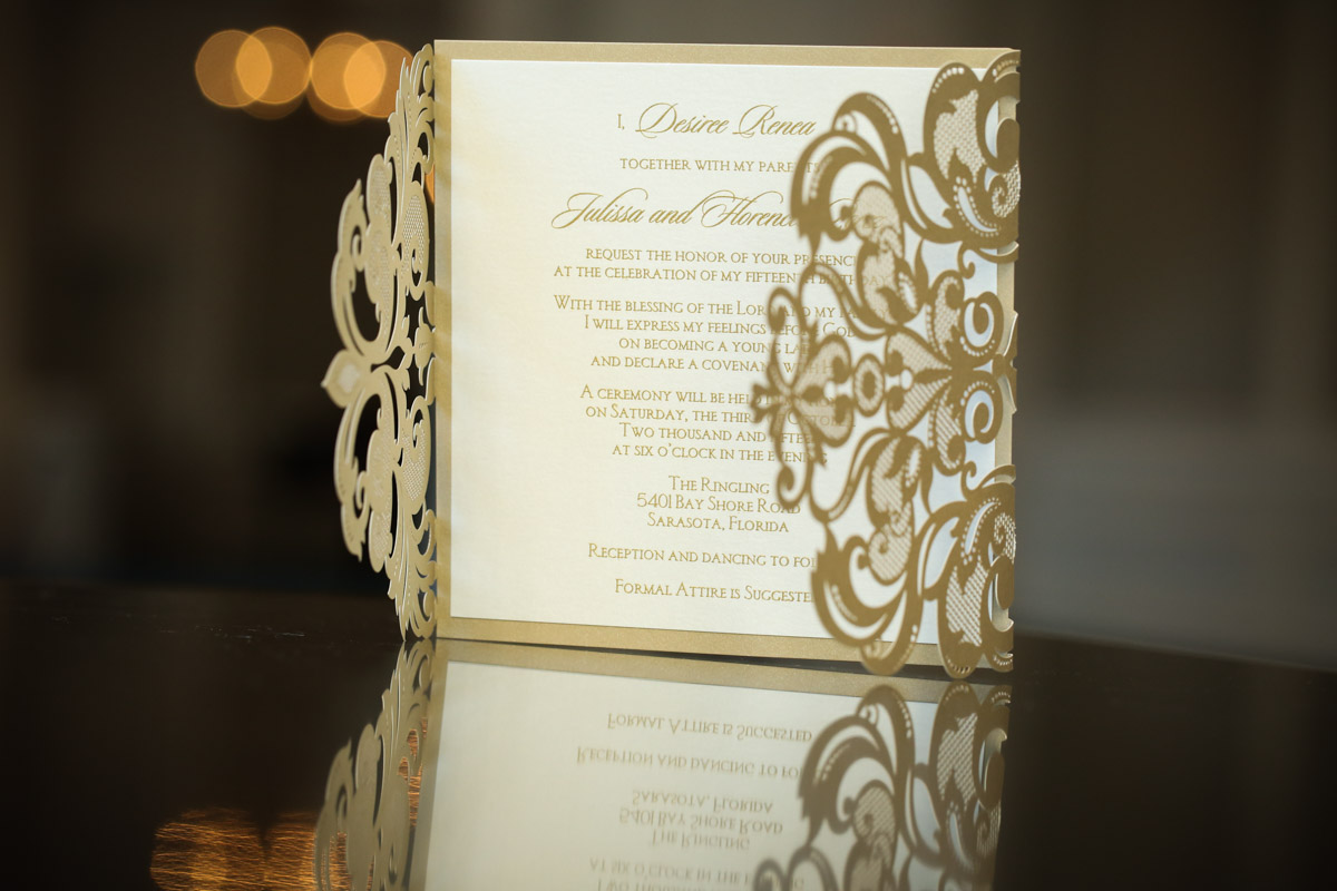 gold and white pop out invitation suite