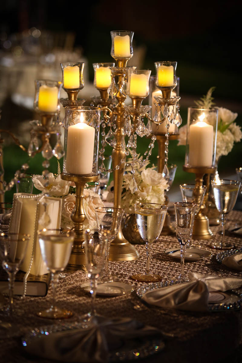 gold candleabra center piece