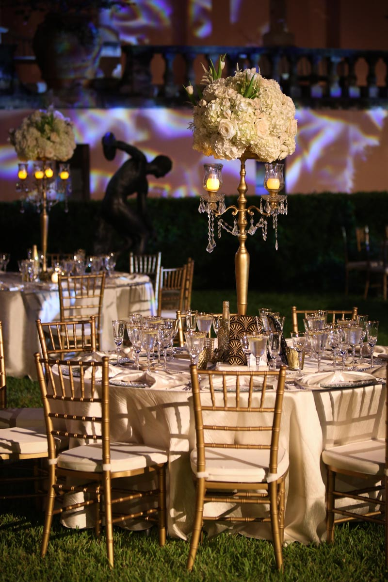 gold themed party table setting