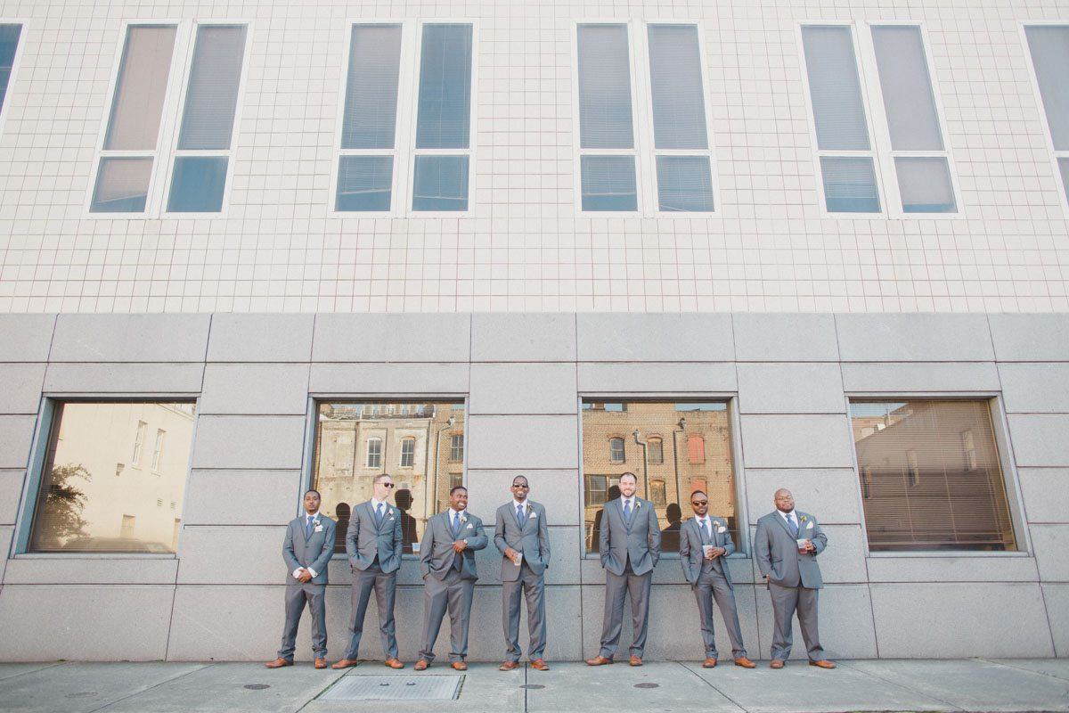groom and his groomsmen outside museum in savannah