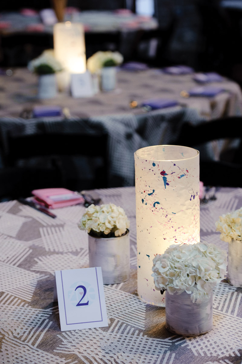 hydrangea and paint splattered candle holder center piece