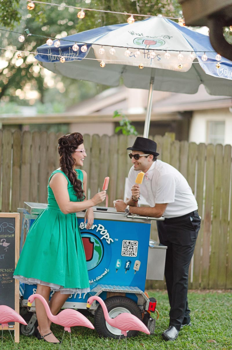 ice pop cart at engagement party