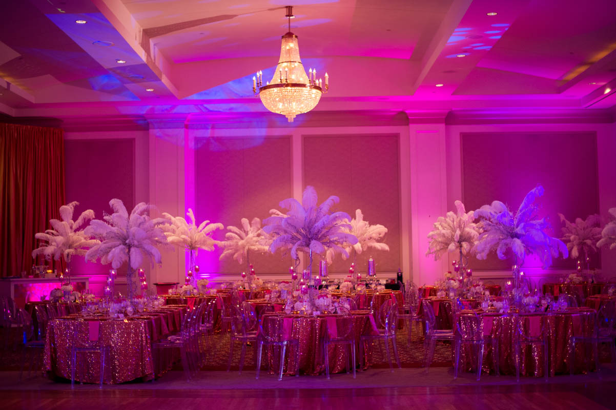 mitzvah venue space with large centerpeices and pink glittered tableclothes