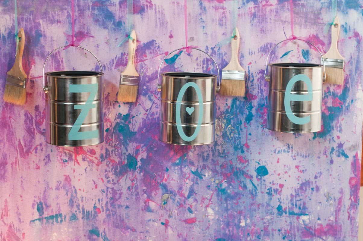 paint can and paint brush personalized decoration