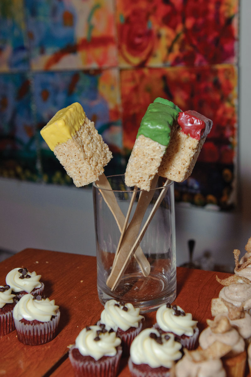 paint themed rice krispy desserts