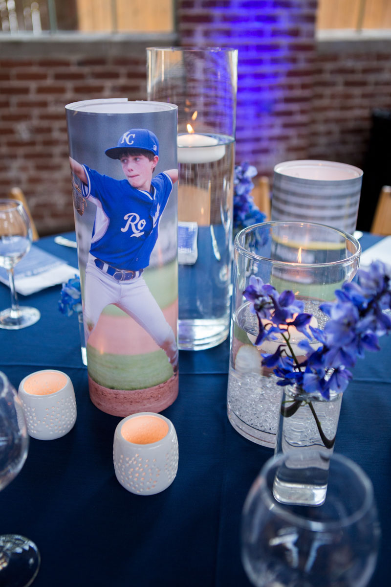 personalized blue table center pieces