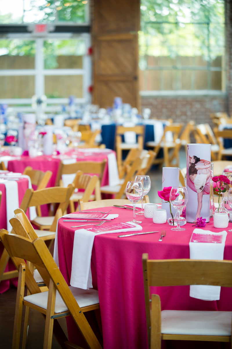 pink and blue round table settings