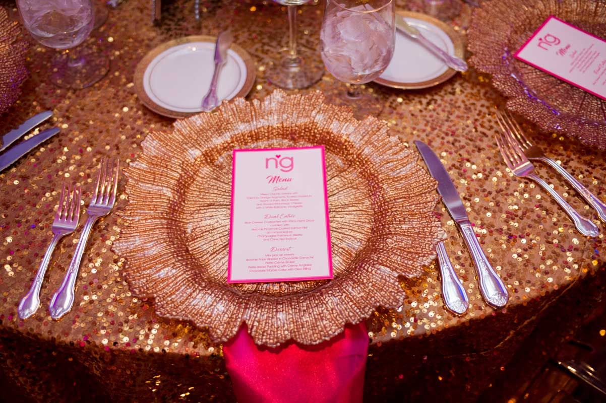 pink and gold table setting at mitzvah