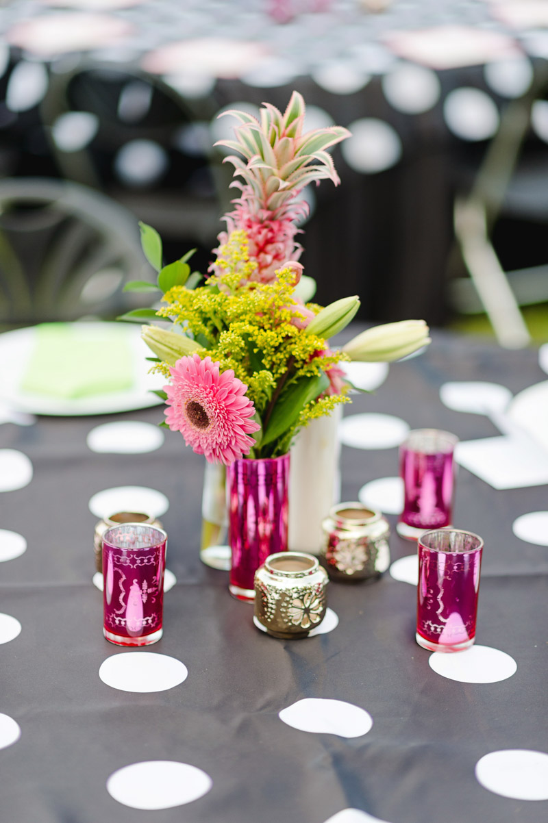 pink and green floral centerpieces