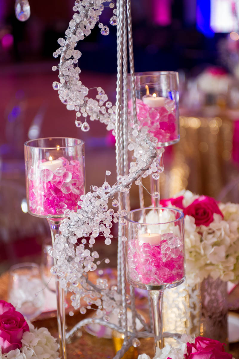 pink and silver center pieces with candles