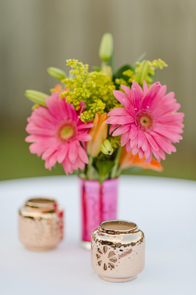 pink daisy centerpiece