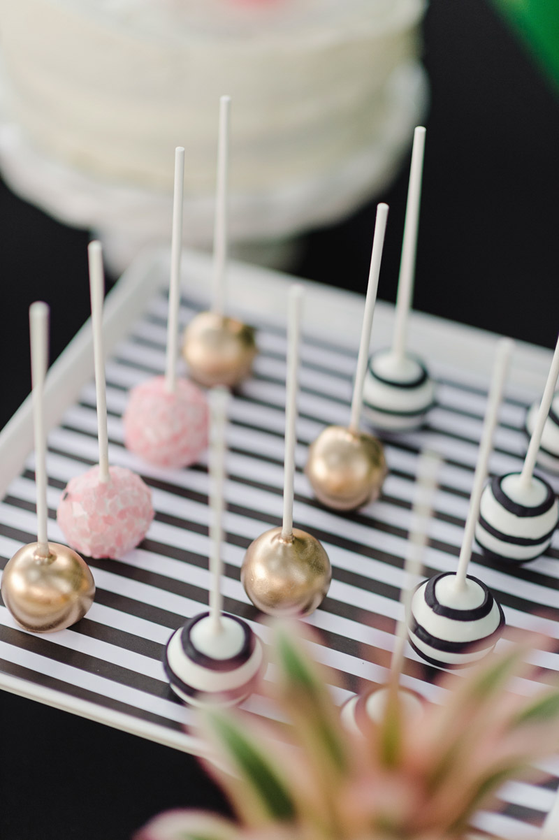pink, gold and striped cake pops