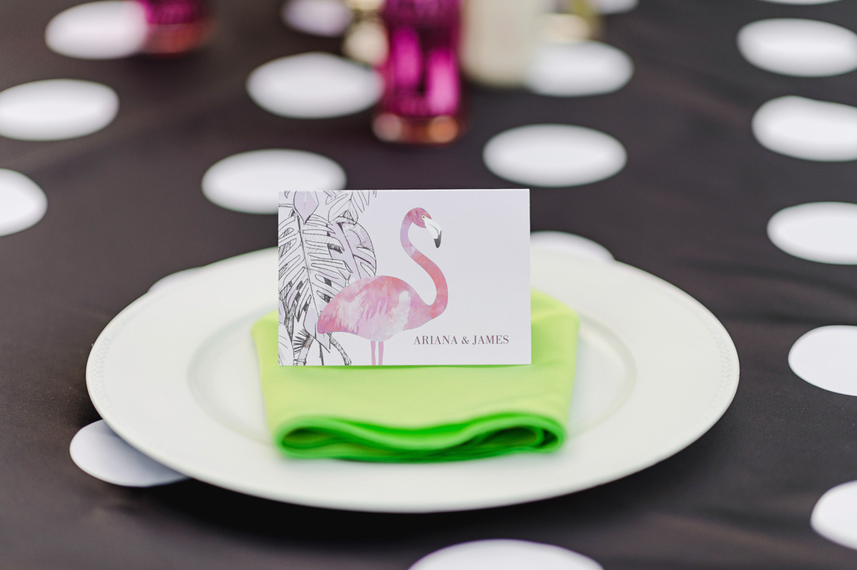 place card with flamingo at engangement party