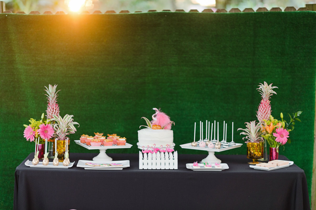 preppy flamingo themed dessert table