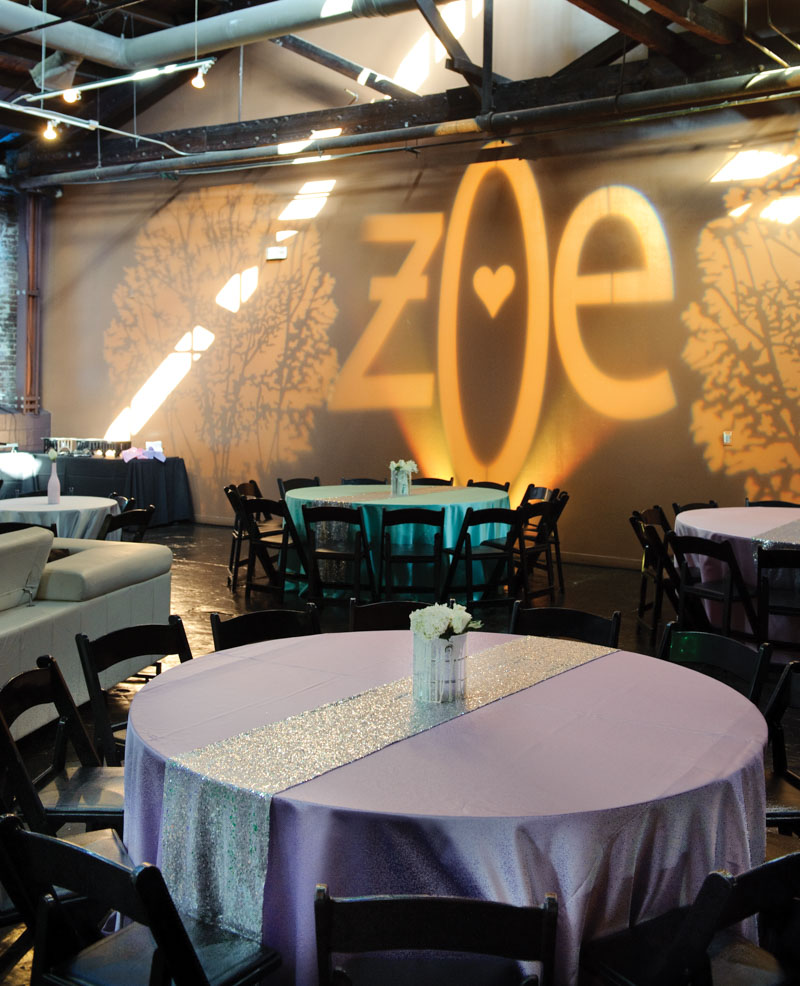 purple table cloth with silver sparkle table runner