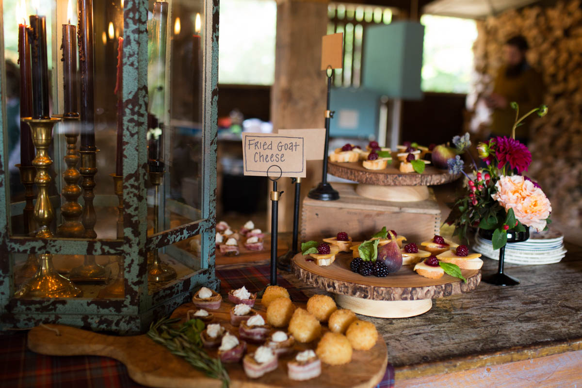 rustic appetizer table at anniversary party