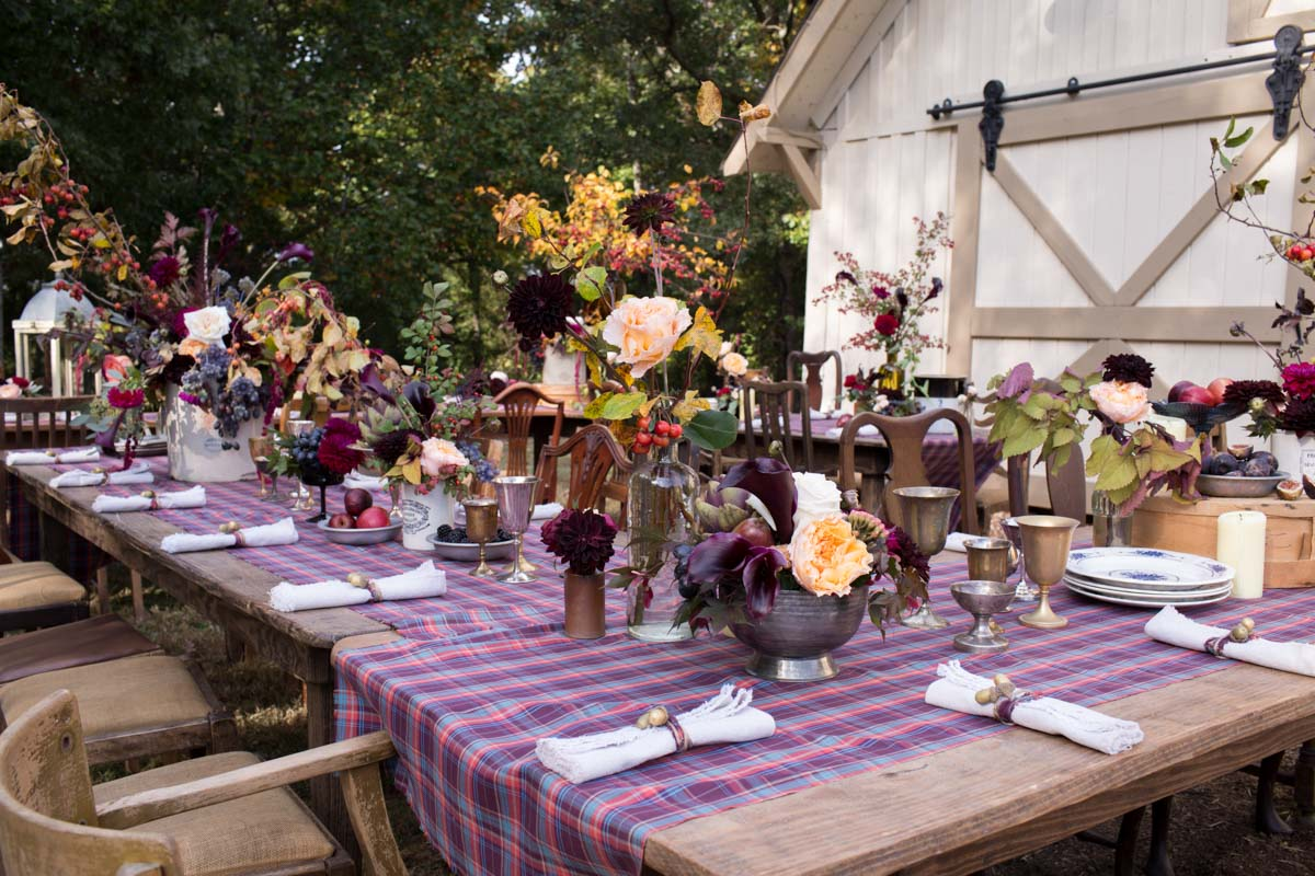 rustic farm table setting
