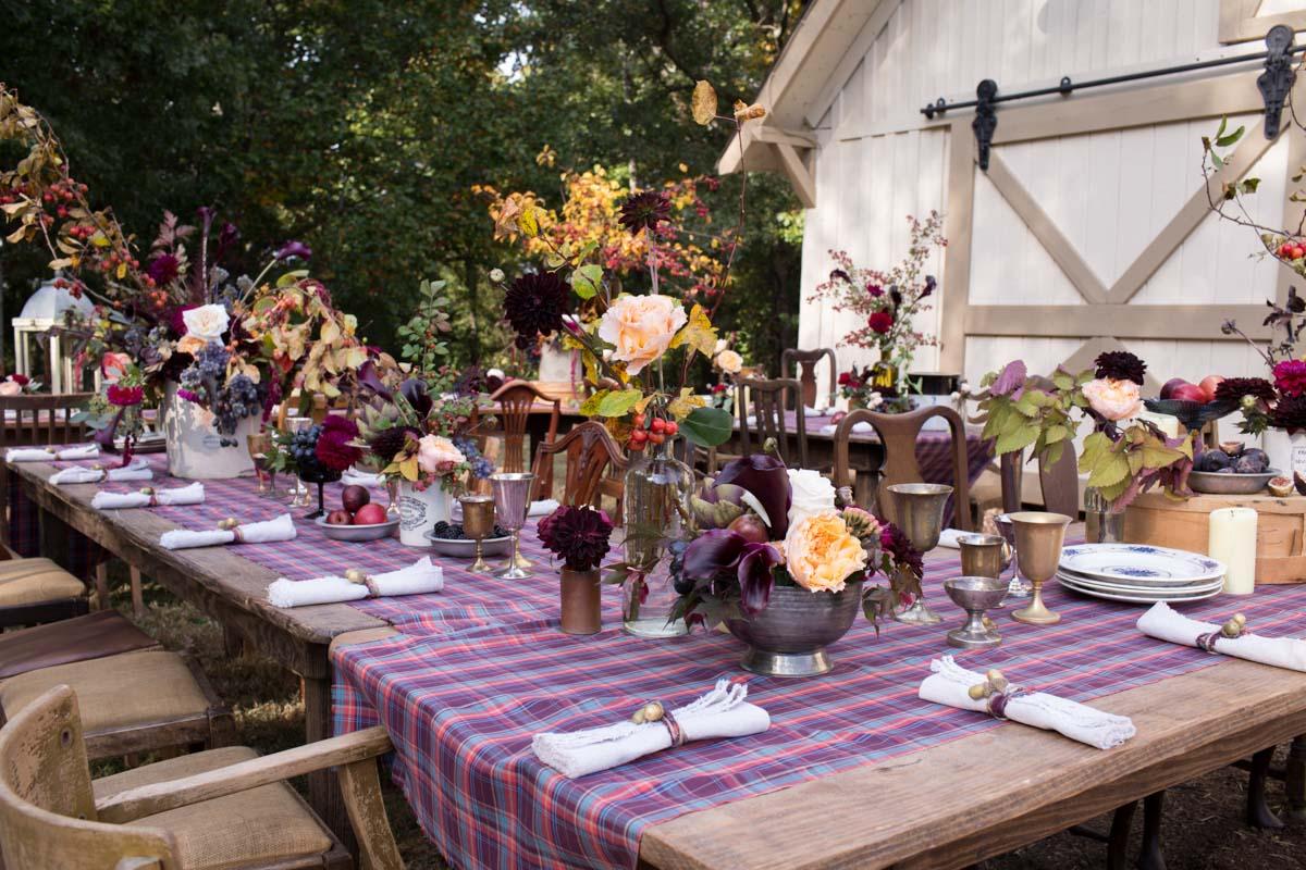 rustic farm table setting