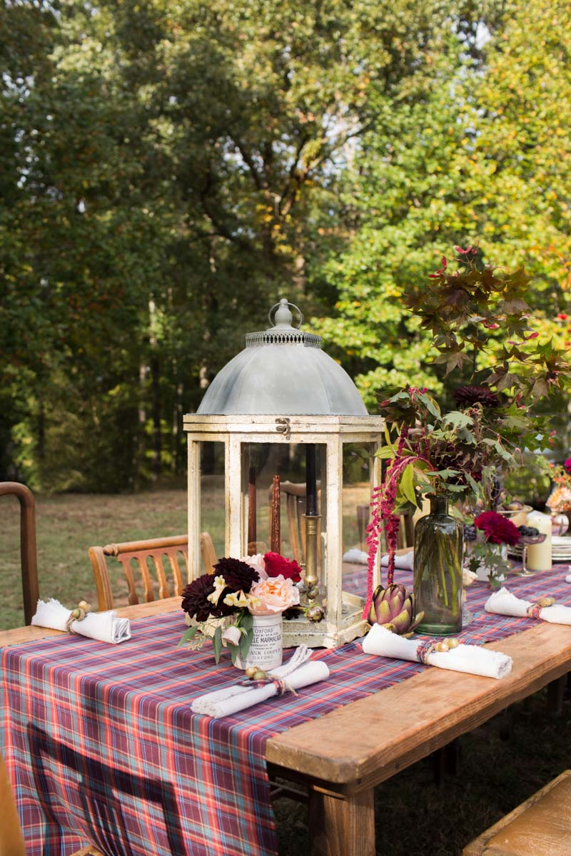 rustic table setting with bird cage center piece