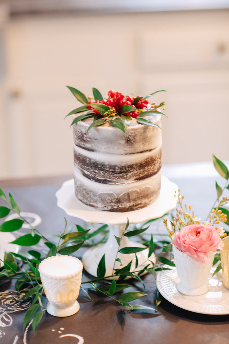 small naked cake made for two