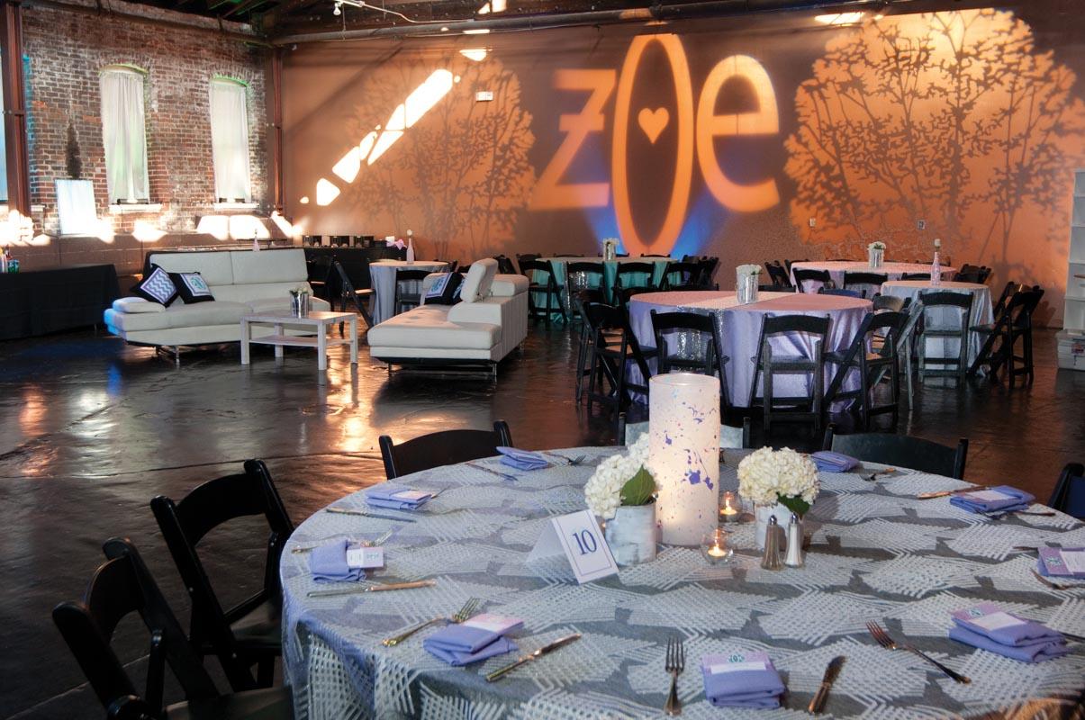 table arrangements at mitzvah