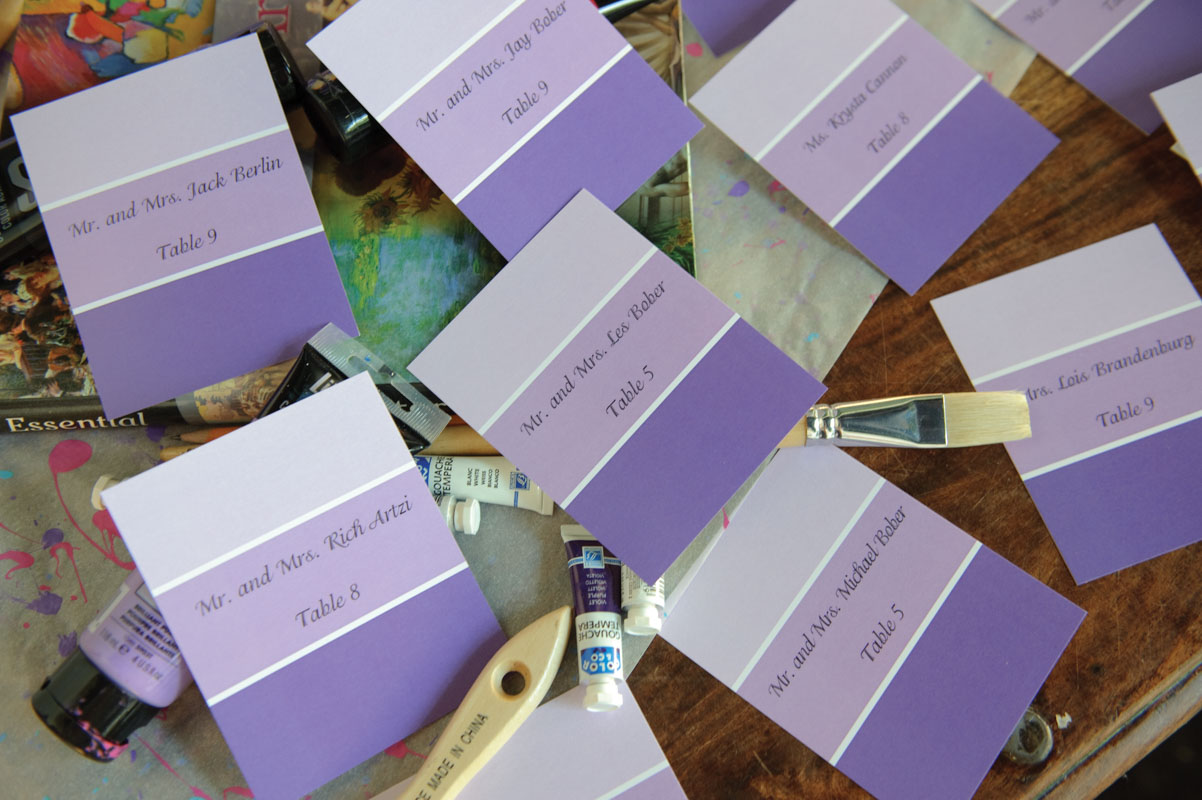 table assignments on purple paint chips