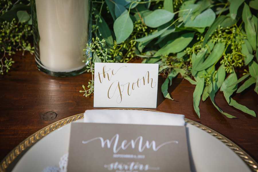 table place setting for groom