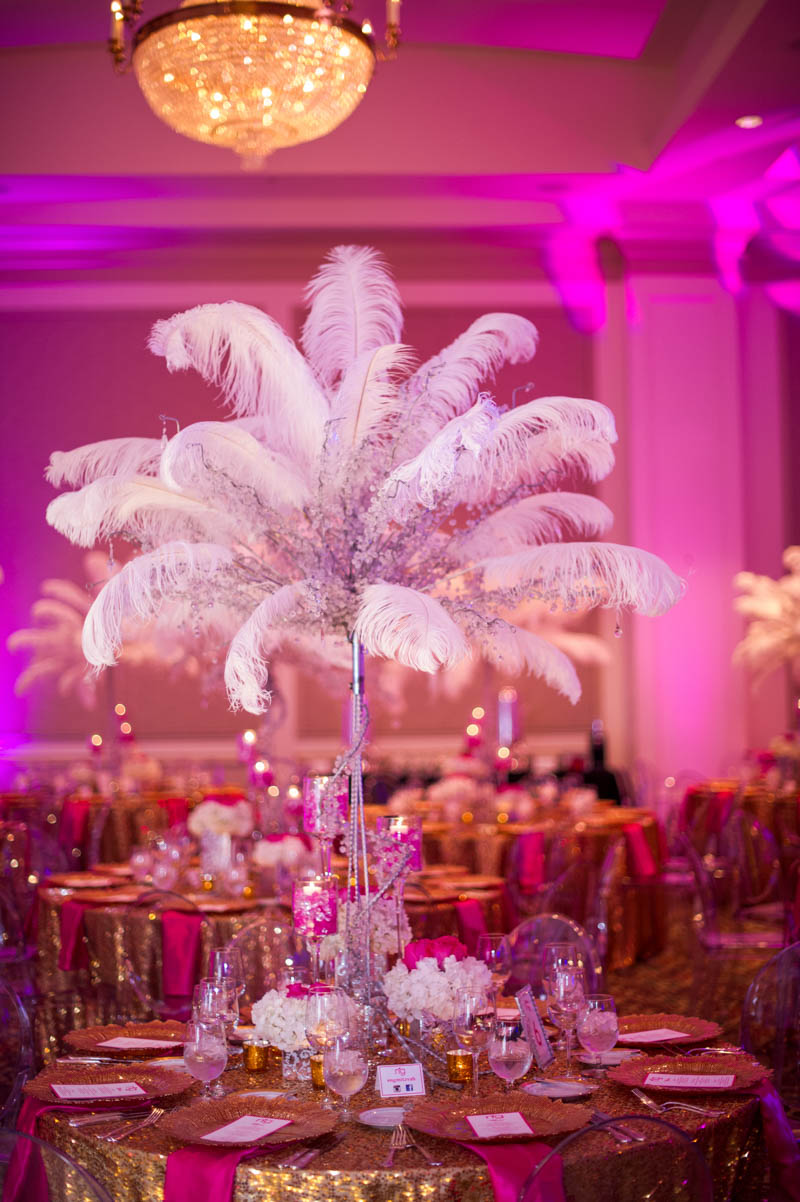 tall white feather center piece