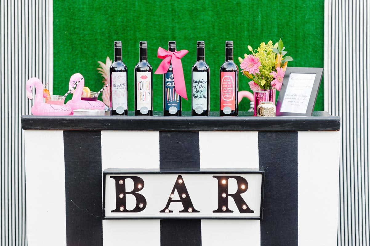 vintage themed bar at engagement party
