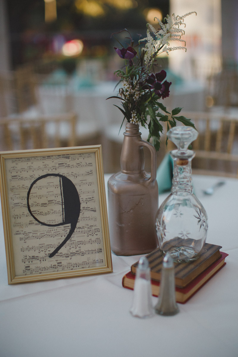 wedding table centerpiece and number