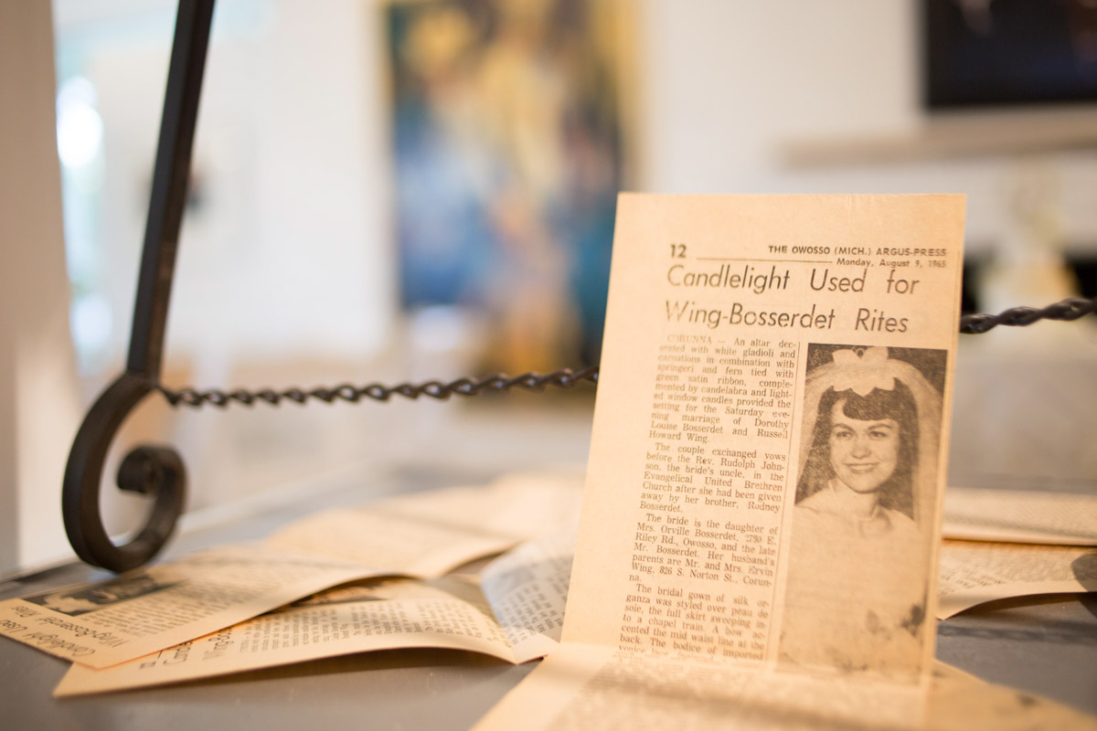 50 year old newspaper clippings on display at anniversary party